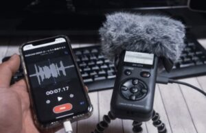 iphone and tascam dr-07x microphone recorder for podcasting – stock photography on adobe stock