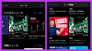 my podcast show display business news carousel and ranking 182 on apple podcast